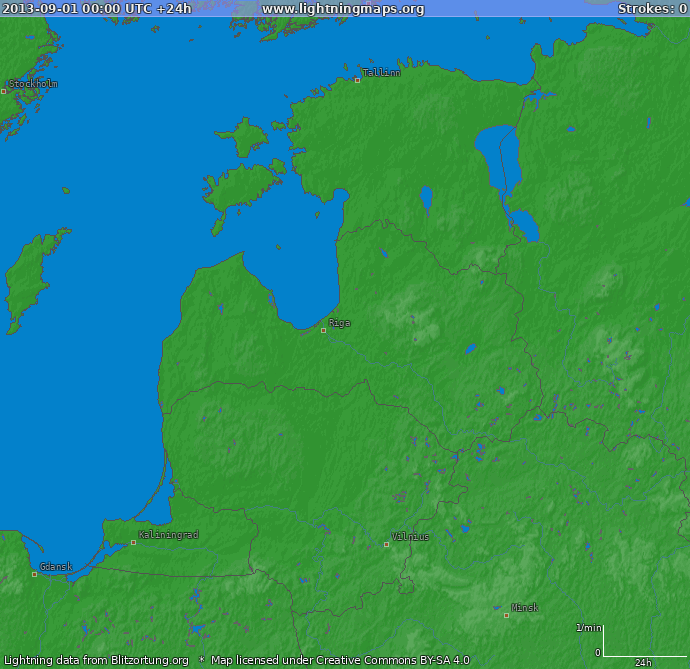 Lightning map Baltic States 2013-09-01