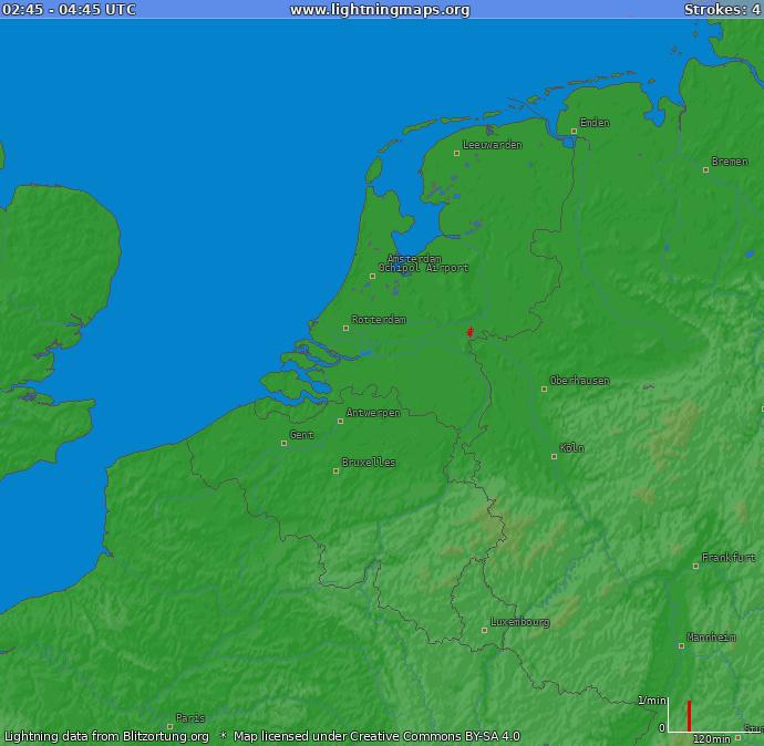 Lightning map Benelux 2014-04-20 16:48:12 UTC