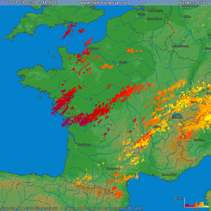 Carte des impacts de foudre en France