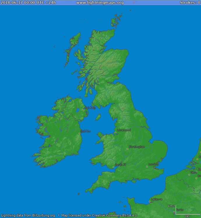 Lightning map United Kingdom 2018-06-17