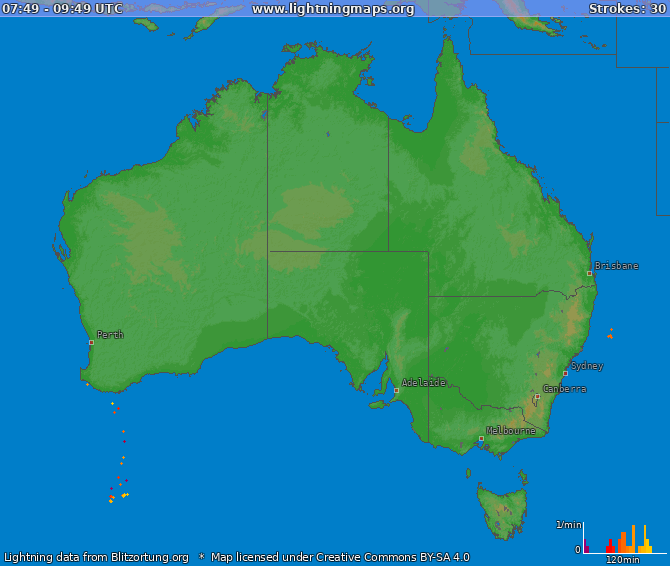 Lightning map Australia 2017-11-21 19:36:02 UTC