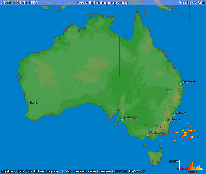 Lightning map Australia 2018-06-25 19:05:55 UTC