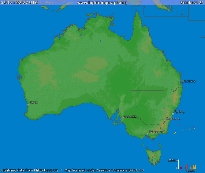 Lightning map Australia 2019-02-20 10:26:32 UTC