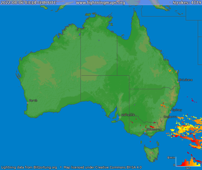 Lightning map Australia 2017-12-18 06:47:46 UTC
