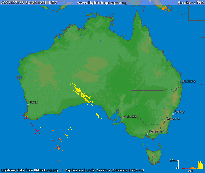 Lightning map Australia 2019-02-21 18:54:08 UTC