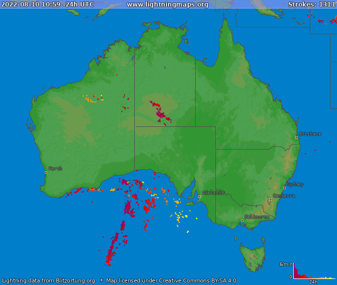 Lightning map Australia 2021-02-26 22:15:34 UTC