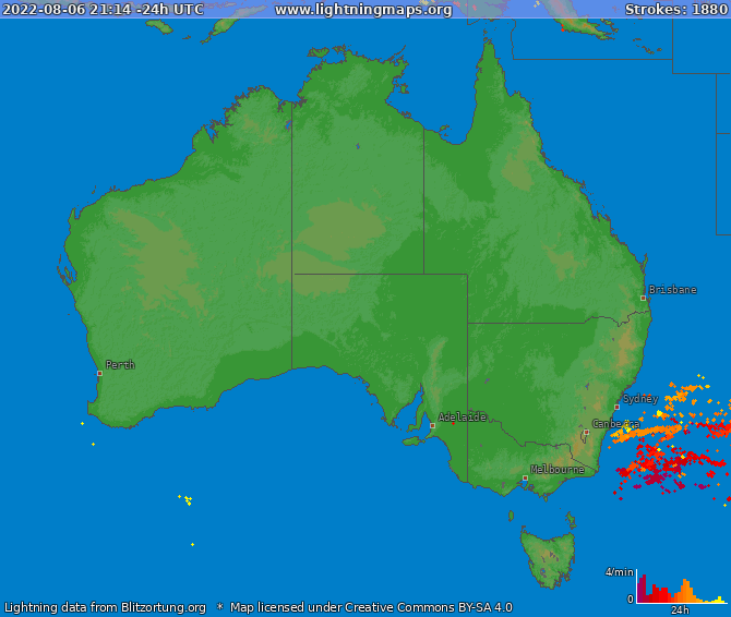 Lightning map Australia 2017-10-19 03:42:01 UTC