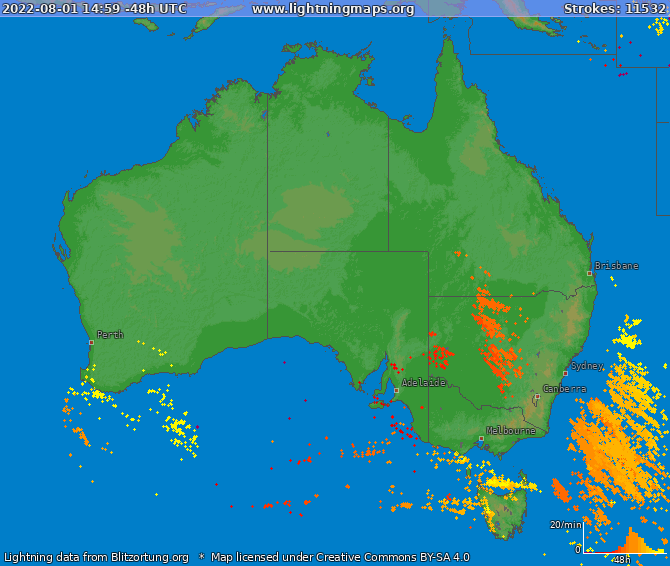 Lightning map Australia 2019-01-22 13:45:20 UTC