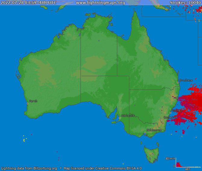 Lightning map Australia 2021-01-26 12:44:17 UTC