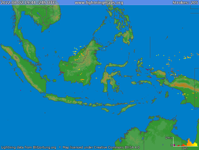 Lightning map Indonesia 2019-08-23 21:20:11 UTC