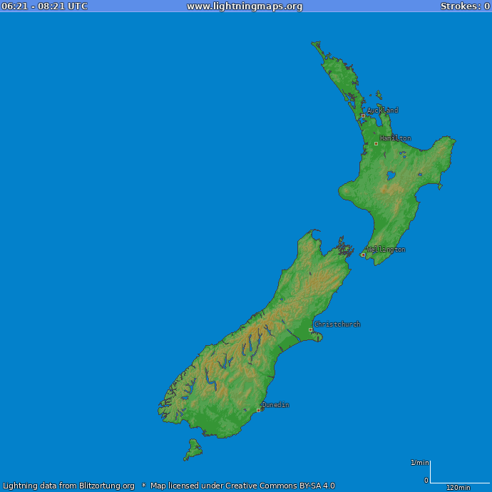 Lightning map New Zealand 2018.06.20 23:04:26 UTC