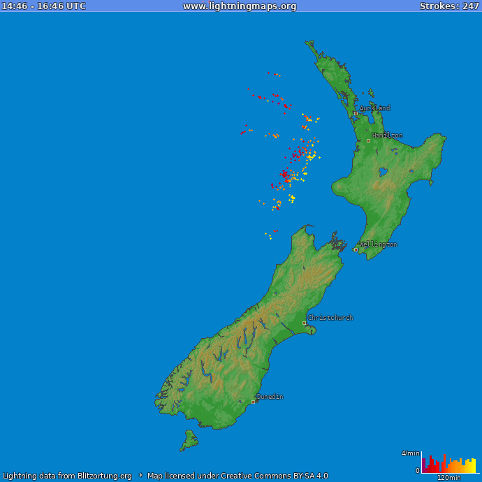 Lightning map New Zealand 2017.12.16 03:17:01 UTC
