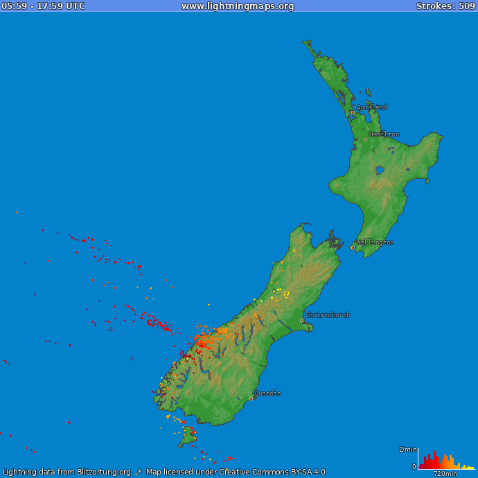 Lightning map New Zealand 2018.10.18 01:34:05 UTC