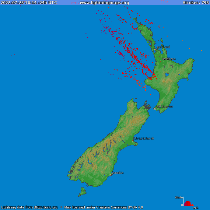 Lightning map New Zealand 2019.06.19 17:50:06 UTC