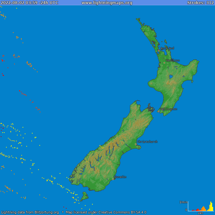 Lightning map New Zealand 2018-10-15 13:49:07 UTC