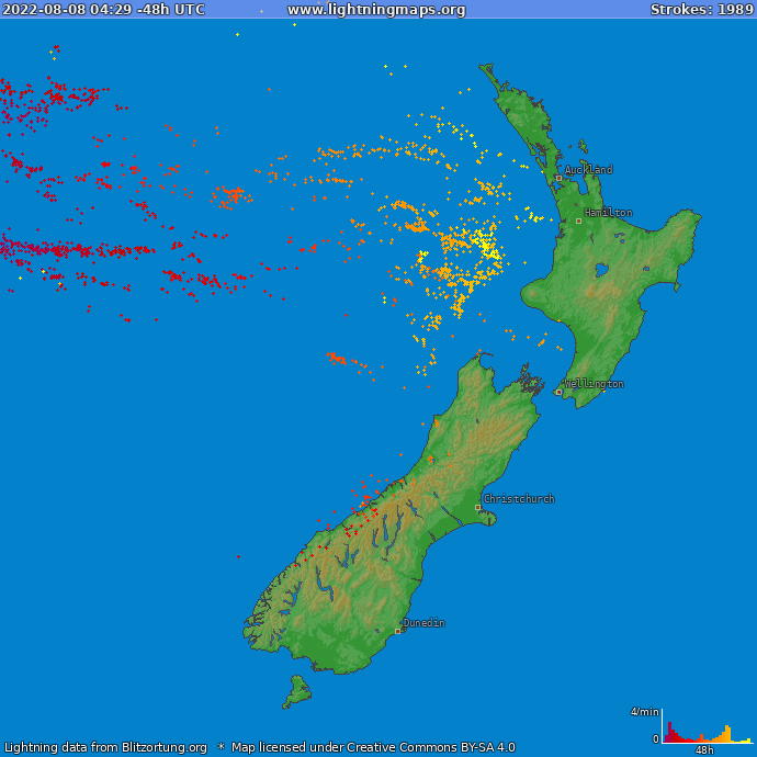 Lightning map New Zealand 2018-03-24 11:32:37 UTC