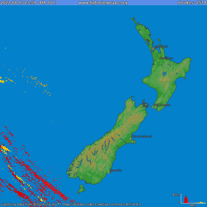 Lightning map New Zealand 2017-11-24 18:18:02 UTC