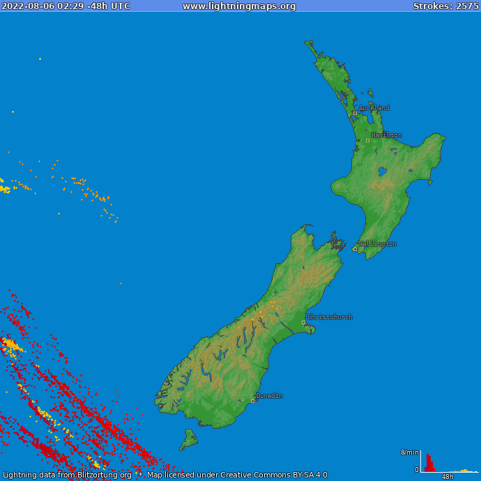 Lightning map New Zealand 2018-02-25 08:08:55 UTC