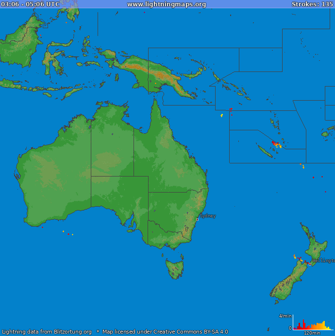 Lightning map Oceania 2020.07.07 13:15:26 UTC