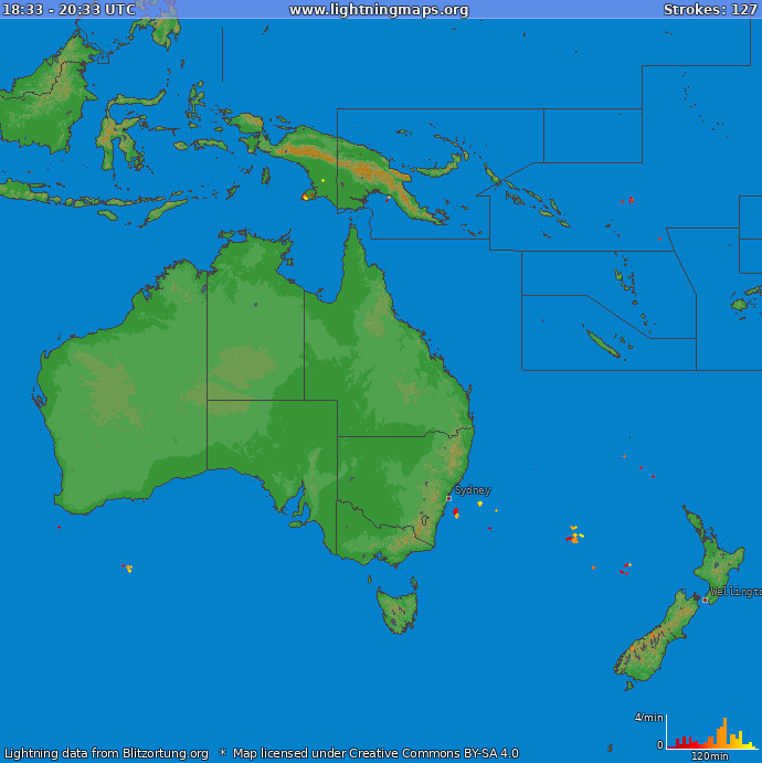 Lightning map Oceania 2019-09-18 23:00:13 UTC