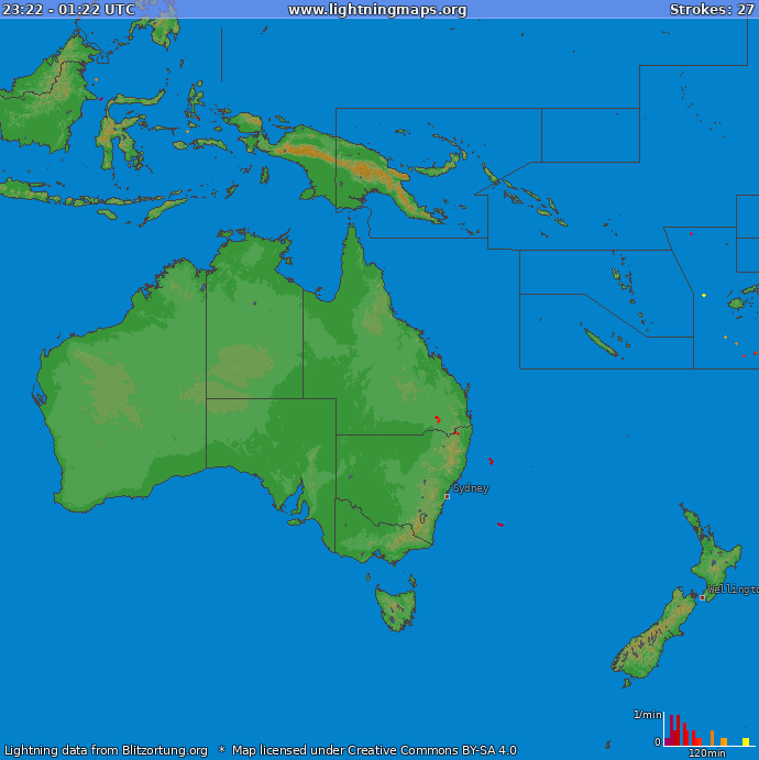 Lightning map Oceania 2020.11.28 22:50:07 UTC