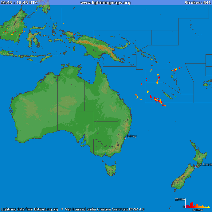 Lightning map Oceania 2019.01.16 11:15:25 UTC