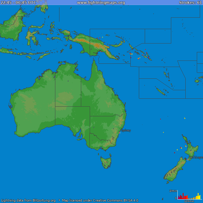 Lightning map Oceania 2018.07.18 12:20:03 UTC