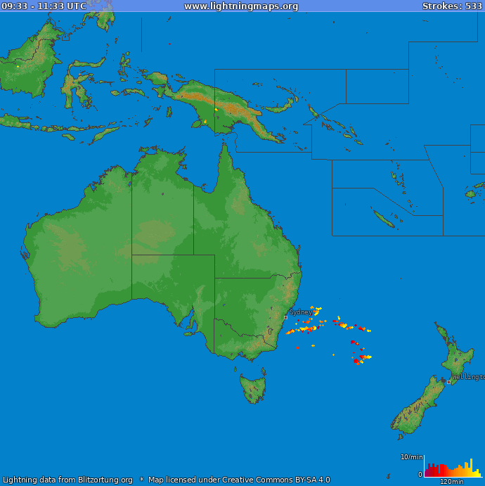Lightning map Oceania 2019-10-19 13:45:13 UTC
