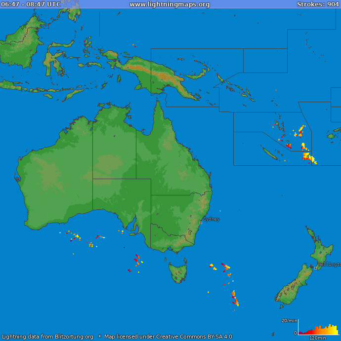 Lightning map Oceania 2018.04.25 16:37:00 UTC