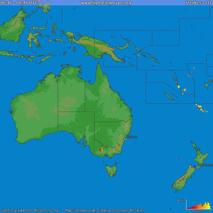 Lightning map Oceania 2020.01.25 16:35:28 UTC