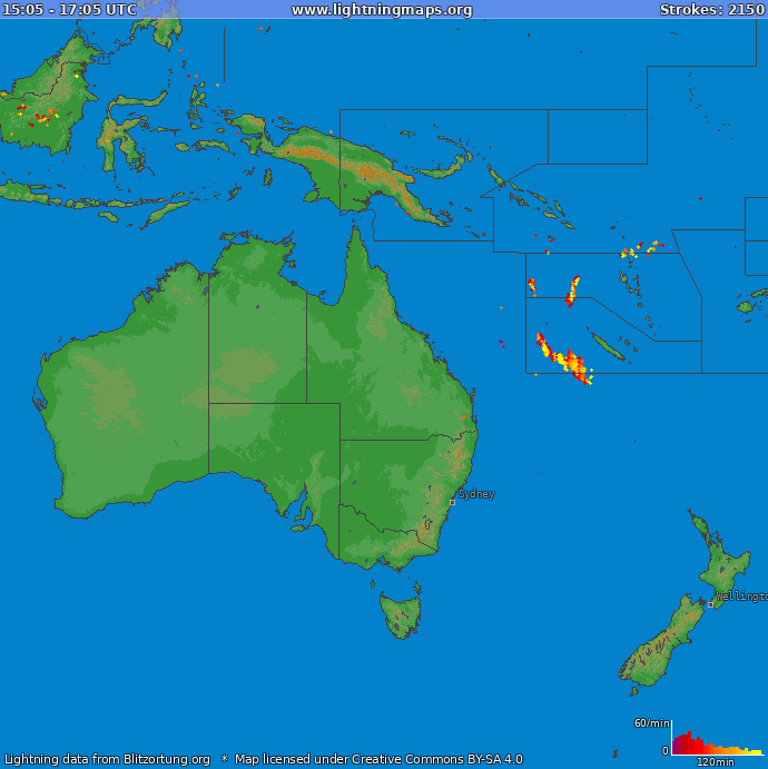 Lightning map Oceania 2019.02.15 22:10:06 UTC