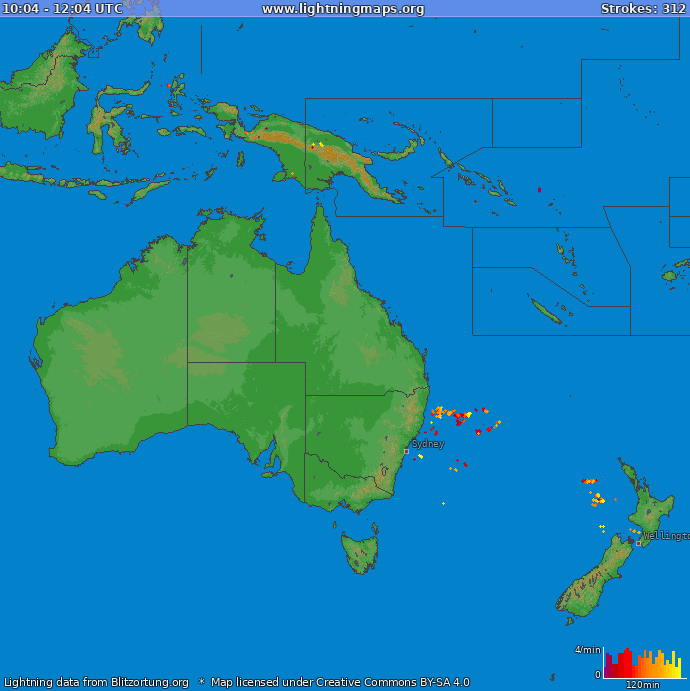 Lightning map Oceania 2019-01-22 13:51:22 UTC