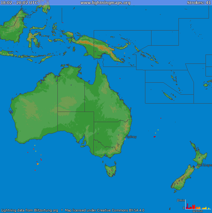 Lightning map Oceania 2019.01.20 13:57:15 UTC