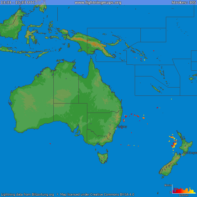 Lightning map Oceania 2021.04.23 11:20:15 UTC