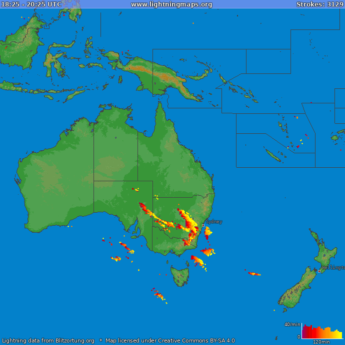 Lightning map Oceania 2018-10-16 19:34:03 UTC