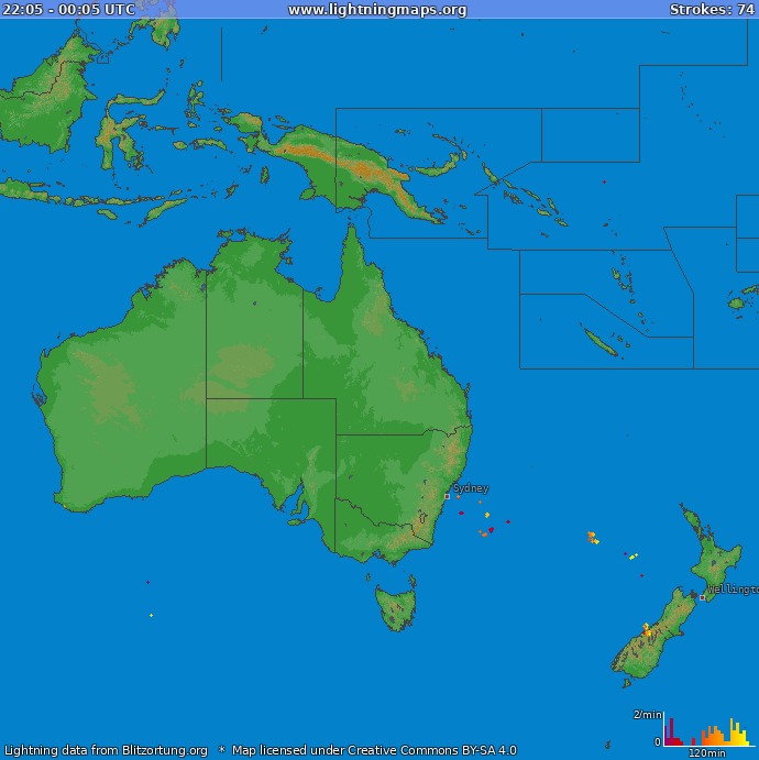 Lightning map Oceania 2018-02-22 08:51:47 UTC