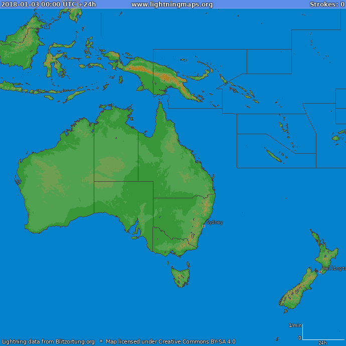 Lightning map Oceania 2018-01-03