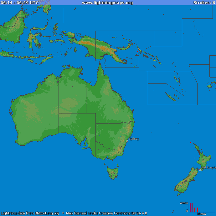 Lightning map Oceania 2018-02-19 20:09:57 UTC
