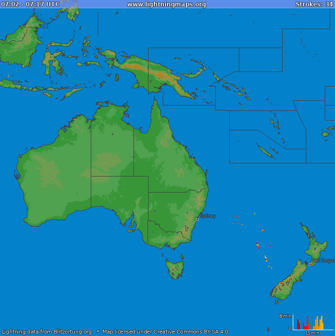 Lightning map Oceania 2019-01-22 09:27:03 UTC