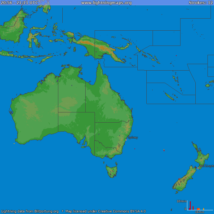 Lightning map Oceania 2018-10-20 00:53:13 UTC