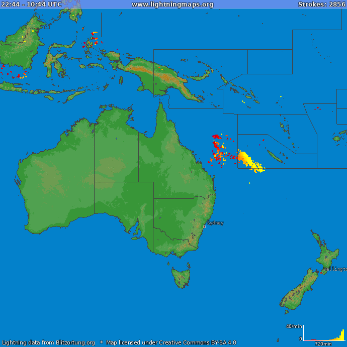 Lightning map Oceania 2018.02.19 20:06:02 UTC