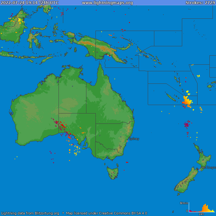 Lightning map Oceania 2018-02-22 02:52:49 UTC