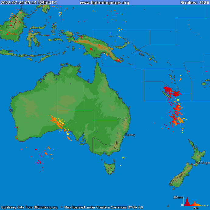 Lightning map Oceania 2020.03.29 06:07:43 UTC