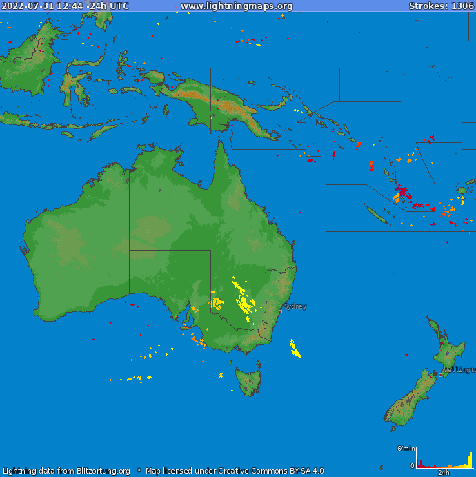 Lightning map Oceania 2019.05.24 14:03:32 UTC
