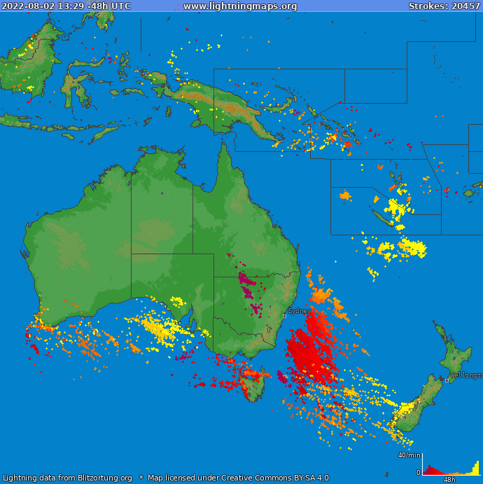 Lightning map Oceania 2019-12-13 17:04:00 UTC