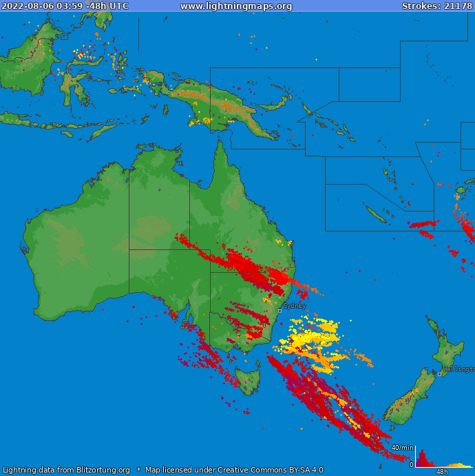 Lightning map Oceania 2019-10-19 03:26:48 UTC