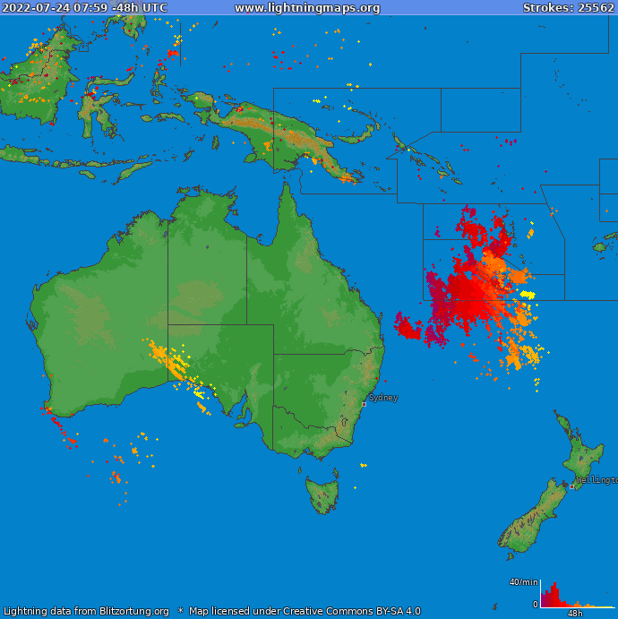Lightning map Oceania 2020-03-29 15:50:08 UTC