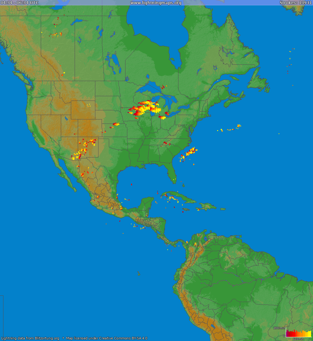 Lightning map North America 2019-03-22 17:10:58 UTC