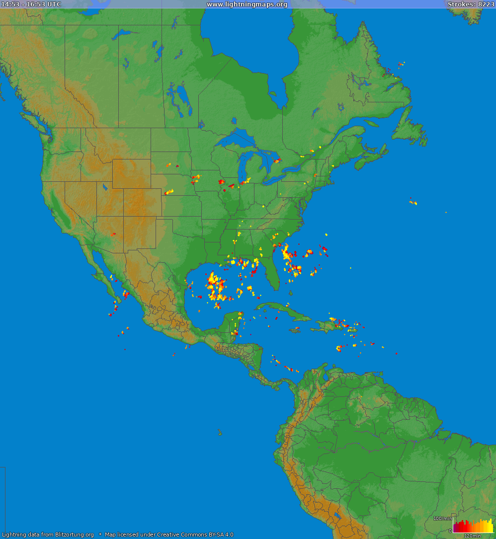Lightning map North America 2021-05-14 09:40:59 UTC