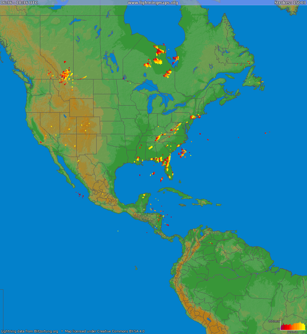 Lightning map North America